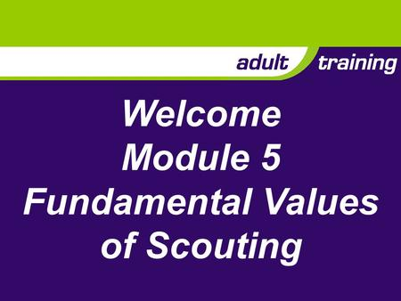 Welcome Module 5 Fundamental Values of Scouting. Aim To explore the link between the values expressed in the Purpose and Method of Scouting and a balanced.