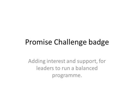 Promise Challenge badge Adding interest and support, for leaders to run a balanced programme.
