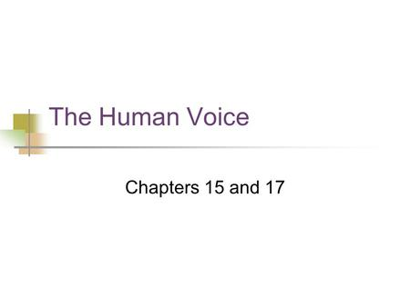 The Human Voice Chapters 15 and 17. Main Vocal Organs Lungs Reservoir and energy source Larynx Vocal folds Cavities: pharynx, nasal, oral Air exits through.