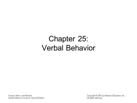 Chapter 25: Verbal Behavior