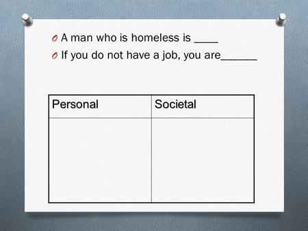 O A man who is homeless is ____ O If you do not have a job, you are______ PersonalSocietal.