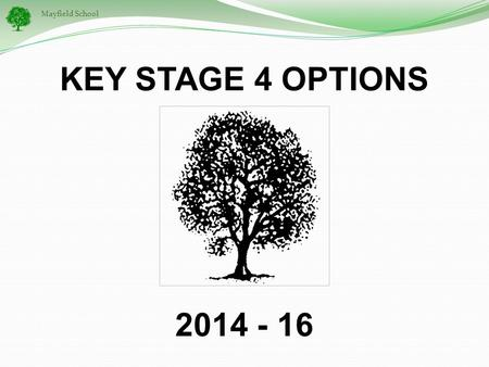 Mayfield School KEY STAGE 4 OPTIONS 2014 - 16. Mayfield School CORE SUBJECTS You will study: Number of GCSEs (or equivalent) English Language & Literature2.