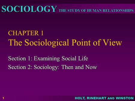 CHAPTER 1 The Sociological Point of View