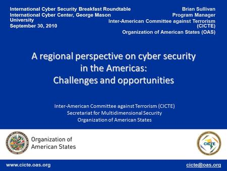 International Cyber Security Breakfast Roundtable