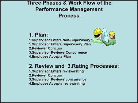 Three Phases & Work Flow of the Performance Management Process 1. Plan: 1.Supervisor Enters Non-Supervisory Plan or 1.Supervisor Enters Supervisory Plan.