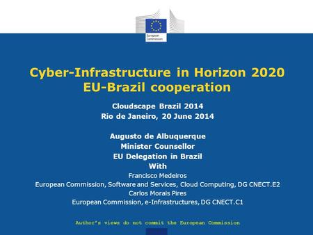 Cyber-Infrastructure in Horizon 2020 EU-Brazil cooperation