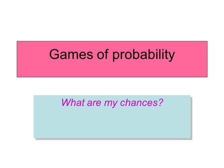 Games of probability What are my chances?. Roll a single die (6 faces). –What is the probability of each number showing on top? Activity 1: Simple probability: