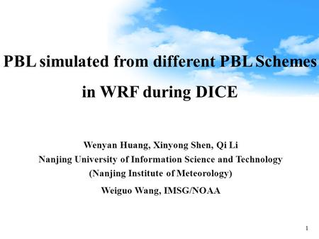 PBL simulated from different PBL Schemes in WRF during DICE