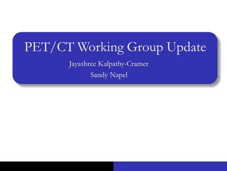 PET/CT Working Group Update Jayashree Kalpathy-Cramer Sandy Napel.