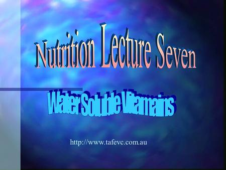 What are Vitamins? n Molecules that the body cannot make itself n required in very small amounts n They are water soluble or.