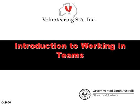 Introduction to Working in Teams © 2006. Workshop Objectives  To identify the characteristics of effective and ineffective teams  To examine the motivations.