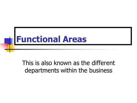 Functional Areas This is also known as the different departments within the business.