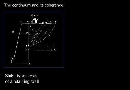 The continuum and its coherence Stability analysis of a retaining wall.