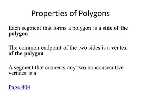 Properties of Polygons