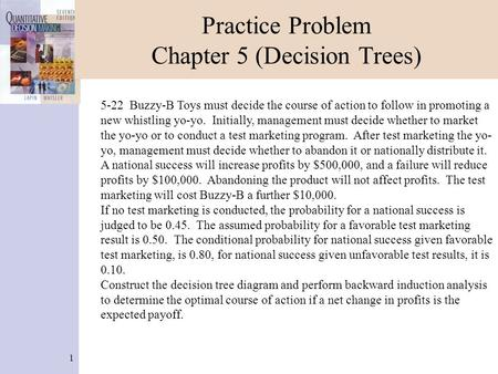 Practice Problem Chapter 5 (Decision Trees)