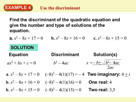 EXAMPLE 4 Use the discriminant Find the discriminant of the quadratic equation and give the number and type of solutions of the equation. a. x 2 – 8x +