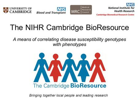 The NIHR Cambridge BioResource A means of correlating disease susceptibility genotypes with phenotypes Bringing together local people and leading research.
