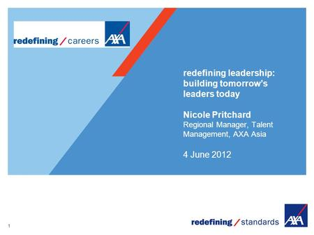 1 redefining leadership: building tomorrow's leaders today Nicole Pritchard Regional Manager, Talent Management, AXA Asia 4 June 2012.