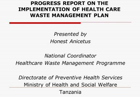 Healthcare Waste Management Programme