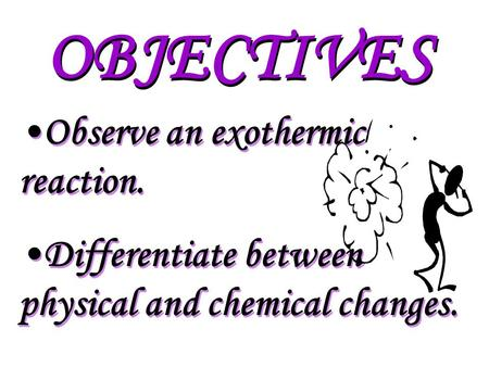 OBJECTIVES Observe an exothermic reaction. Differentiate between physical and chemical changes. Observe an exothermic reaction. Differentiate between.