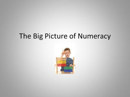 "The Big Picture of Numeracy. Numeracy Project Goal ""To be numerate is to have the ability and inclination to use mathematics effectively – at home, at."