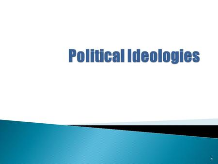 1. Political Ideology refers to a set of values, beliefs, opinions, assumptions, and attitudes about how society should be organized and operated. It.