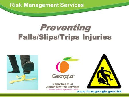 1 www.doas.georgia.gov/risk Risk Management Services Preventing Falls/Slips/Trips Injuries.