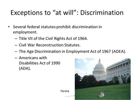 Several federal statutes prohibit discrimination in employment. – Title VII of the Civil Rights Act of 1964. – Civil War Reconstruction Statutes. – The.