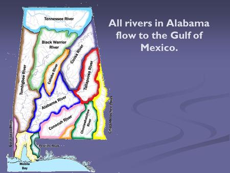 All rivers in Alabama flow to the Gulf of Mexico..