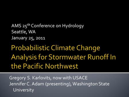 AMS 25th Conference on Hydrology