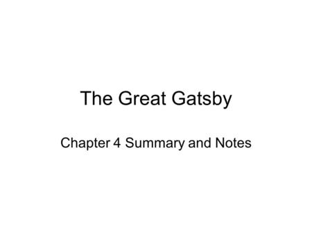 Chapter 4 Summary and Notes