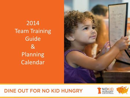Welcome 2014 Team Training Guide & Planning Calendar.