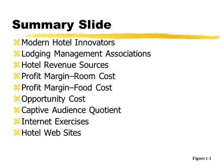 Summary Slide zModern <strong>Hotel</strong> Innovators zLodging Management Associations zHotel Revenue Sources zProfit Margin–Room Cost zProfit Margin–Food Cost zOpportunity.