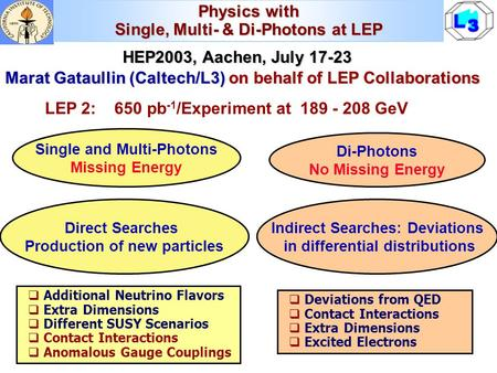 Physics with Single, Multi- & Di-Photons at LEP HEP2003, Aachen, July 17-23 HEP2003, Aachen, July 17-23 Marat Gataullin (Caltech/L3) on behalf of LEP Collaborations.