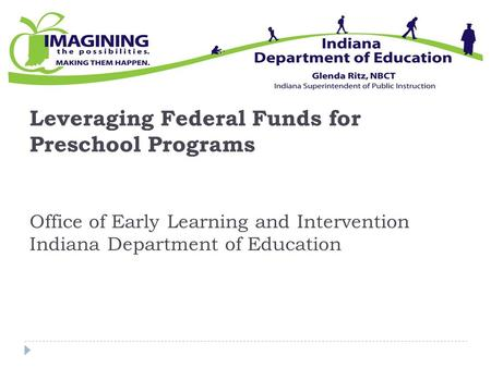 Leveraging Federal Funds for Preschool Programs Office of Early Learning and Intervention Indiana Department of Education.