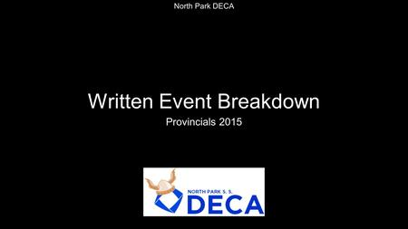 Written Event Breakdown Provincials 2015 North Park DECA.