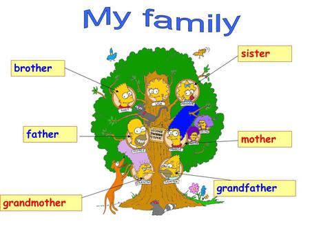 My family sister brother father mother grandfather grandmother.