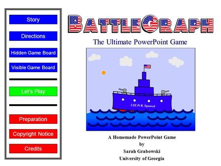 Copyright Notice A Homemade PowerPoint Game by Sarah Grabowski University of Georgia Let's Play Directions Story Credits Preparation Visible Game Board.
