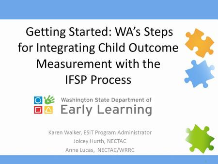1 Getting Started: WA's Steps for Integrating Child Outcome Measurement with the IFSP Process Karen Walker, ESIT Program Administrator Joicey Hurth, NECTAC.