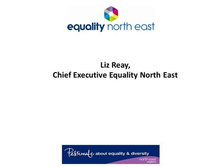 Liz Reay, Chief Executive Equality North East. Who We Are! Established 1997. Based in Swalwell, Gateshead. Local, regional and national activities. Third.