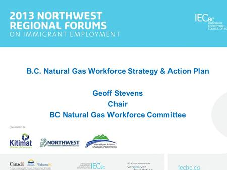 B.C. Natural Gas Workforce Strategy & Action Plan Geoff Stevens Chair BC Natural Gas Workforce Committee.