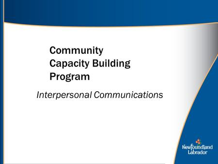 Community Capacity Building Program Interpersonal Communications.