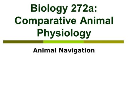 Biology 272a: Comparative <strong>Animal</strong> Physiology <strong>Animal</strong> Navigation.