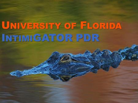 U NIVERSITY OF F LORIDA I NTIMI GATOR PDR. O UTLINE Project Organization Vehicle Design Payload Design Recovery System Component Testing Subscale Flight.