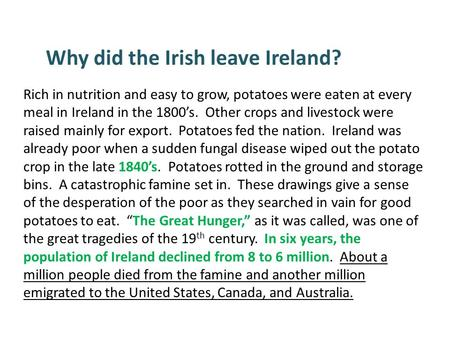 Rich in nutrition and easy to grow, potatoes were eaten at every meal in Ireland in the 1800's. Other crops and livestock were raised mainly for export.