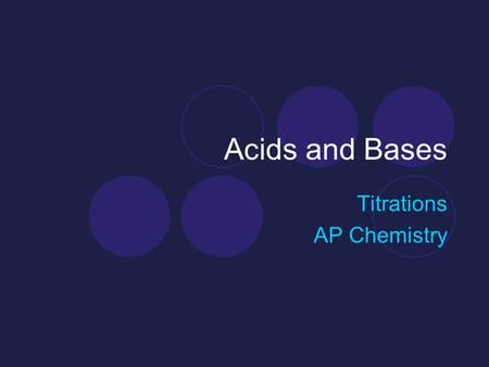 Acids and Bases Titrations AP Chemistry. Neutralization Reactions and Titrations Neutralization Reactions Strong acid + Strong Base  Salt + Water HCl.