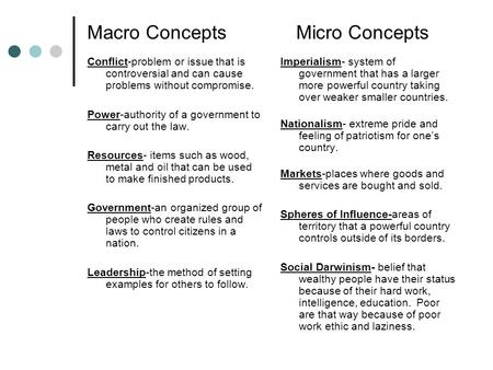 Macro Concepts Micro Concepts Conflict-problem or issue that is controversial and can cause problems without compromise. Power-authority of a government.