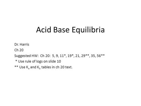 Acid Base Equilibria Dr. Harris Ch 20 Suggested HW: Ch 20: 5, 9, 11*, 19*, 21, 29**, 35, 56** * Use rule of logs on slide 10 ** Use K a and K b tables.