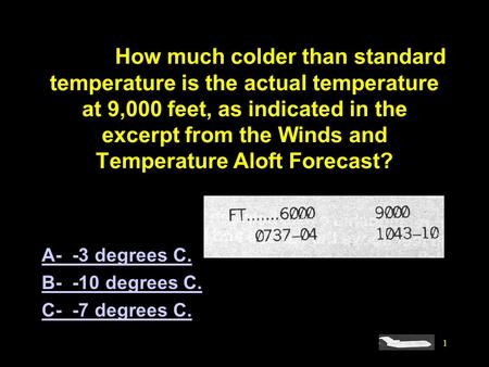 #4095. How much colder than standard temperature is the actual temperature at 9,000 feet, as indicated in the excerpt from the Winds and Temperature Aloft.