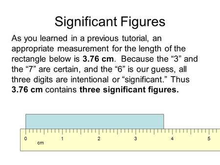 "Significant Figures As you learned in a previous tutorial, an appropriate measurement for the length of the rectangle below is 3.76 cm. Because the ""3"""